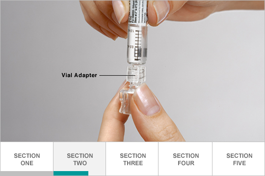 Attach vial adapter to syringe