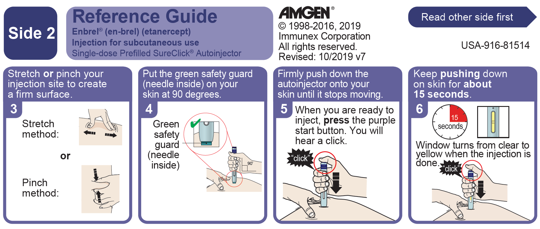 Side 2 of the SureClick® Autoinjector quick reference guide with continued injection instructions. Please read all instructions in carton before use