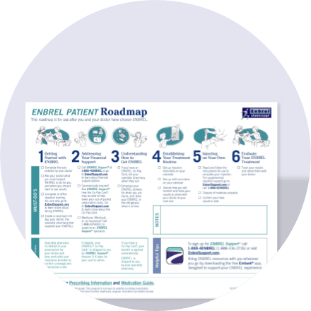 Download the Enbrel® (etanercept) patient roadmap to give patients a guide for a consistent treatment routine